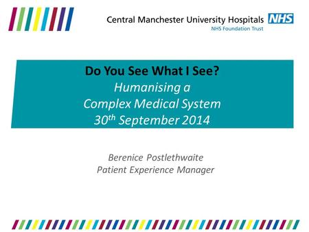 Berenice Postlethwaite Patient Experience Manager Do You See What I See? Humanising a Complex Medical System 30 th September 2014.