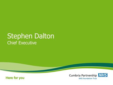 Stephen Dalton Chief Executive. Big Picture Update Integration Quality Responding to the needs of the community.