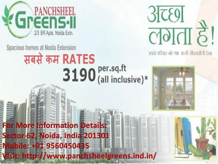  Panchsheel Greens is the most prestigious real estate group that provide quality construction, elegant design and safety of investment.  The Project.
