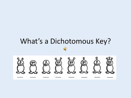 What's a Dichotomous Key?. It's a tool that scientists use to help them find the names of insects, trees, and many other things. Dichotomous Key? What's.