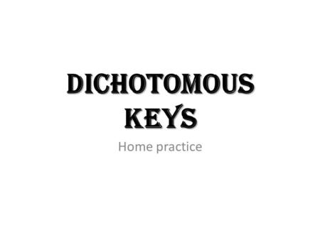Dichotomous Keys Home practice. Dichotomous Keys Now that we know how organisms are classified. We know some of the characteristics that make up each.