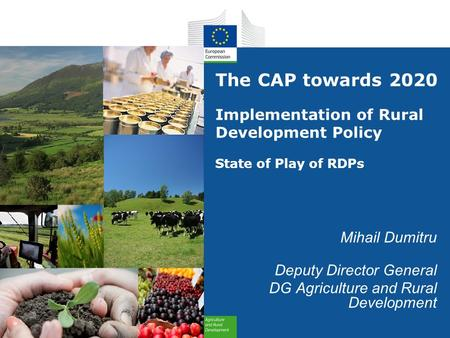 The CAP towards 2020 Implementation of Rural Development Policy State of Play of RDPs Mihail Dumitru Deputy Director General DG Agriculture and Rural Development.