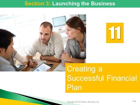 Copyright © 2016 Pearson Education, Inc. Creating a Successful Financial Plan 11 11-2 Section 3: Launching the Business.