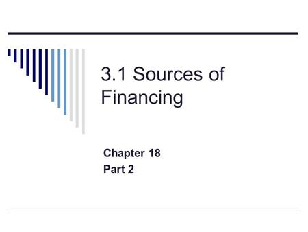 3.1 Sources of Financing Chapter 18 Part 2. Evaluation of Internal Financing  No direct cost to the business  Does not increase the debt of the company.
