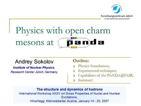 Physics with open charm mesons at Andrey Sokolov Institute of Nuclear Physics, Research Center Jülich, Germany The structure and dynamics of hadrons International.
