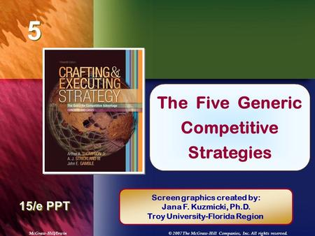 McGraw-Hill/Irwin© 2007 The McGraw-Hill Companies, Inc. All rights reserved. 5 5 Chapter Title 15/e PPT The Five Generic Competitive Strategies Screen.