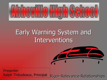 Early Warning System and Interventions Rigor-Relevance-Relationships Presenter Ralph Thibodeaux, Principal.