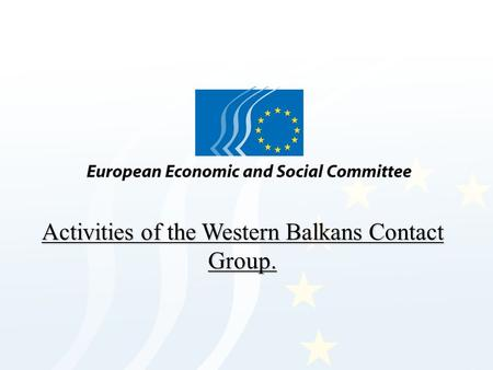Activities of the Western Balkans Contact Group..