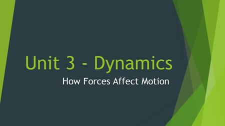 Unit 3 - Dynamics How Forces Affect Motion. Unit 3 Part 1 – Newton's Laws of Motion Physics Book Chapter 4 Conceptual Physics Book Chapters 4-6.