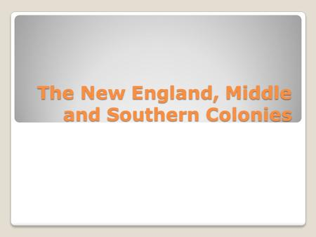 The New England, Middle and Southern Colonies. Why Settle? English settlers established colonies in North America for many reasons. Some colonies were.