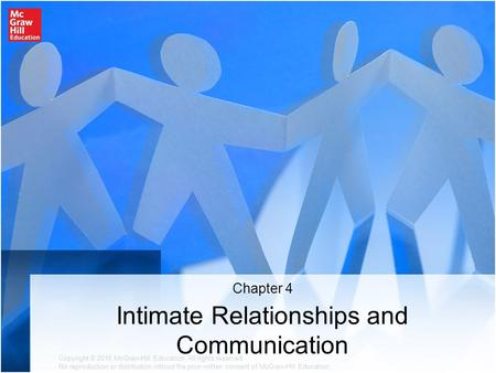 Intimate Relationships and Communication Chapter 4 Copyright © 2016 McGraw-Hill Education. All rights reserved. No reproduction or distribution without.