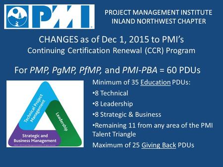 PROJECT MANAGEMENT INSTITUTE INLAND NORTHWEST CHAPTER PROJECT MANAGEMENT INSTITUTE INLAND NORTHWEST CHAPTER CHANGES as of Dec 1, 2015 to PMI's Continuing.