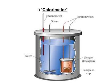 "A ""Calorimeter"". Calorimetry Calculations When analyzing data obtained using a calorimeter, make these assumptions: Any thermal energy transferred from."
