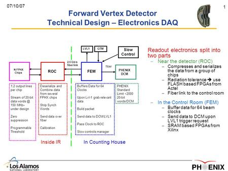 1 07/10/07 Forward Vertex Detector Technical Design – Electronics DAQ Readout electronics split into two parts – Near the detector (ROC) – Compresses and.