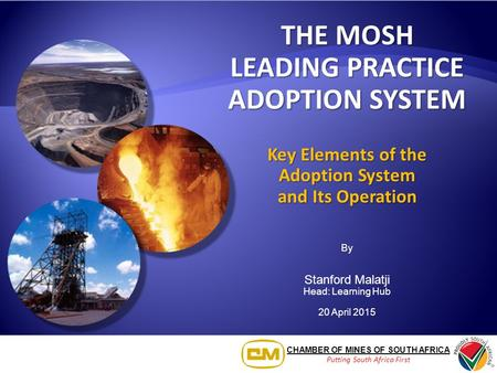 CHAMBER OF MINES OF SOUTH AFRICA Putting South Africa First THE MOSH LEADING PRACTICE ADOPTION SYSTEM Key Elements of the Adoption System and Its Operation.