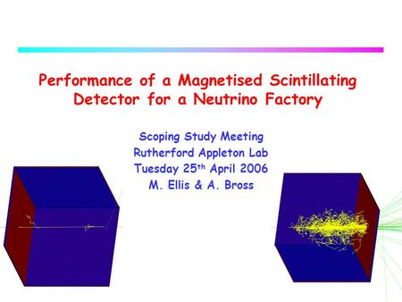 1 Performance of a Magnetised Scintillating Detector for a Neutrino Factory Scoping Study Meeting Rutherford Appleton Lab Tuesday 25 th April 2006 M. Ellis.