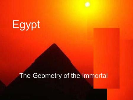 Egypt The Geometry of the Immortal. The pantheon of Egyptian gods.