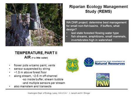 Riparian Ecology Management Study (REMS) Washington Dept. of Ecology, Lacey, WA U.S.A / J. Janisch and W. Ehinger WA DNR project: determine best management.