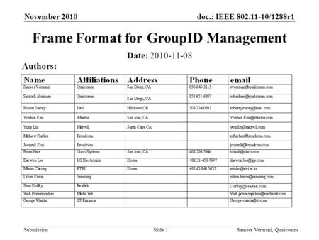 Doc.: IEEE 802.11-10/1288r1 Submission November 2010 Sameer Vermani, QualcommSlide 1 Frame Format for GroupID Management Date: 2010-11-08 Authors: