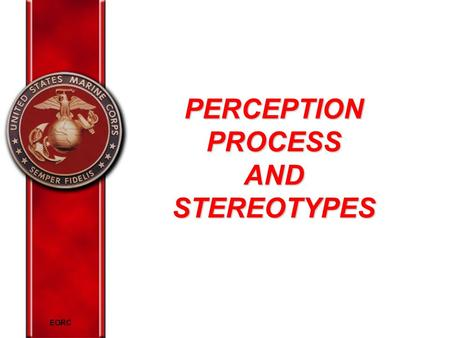 EORC PERCEPTION PROCESS AND STEREOTYPES. EORC Overview Elements of perception Perceptual shortcuts Relationships between stereotype and perception Strategies.