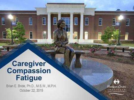 Caregiver Compassion Fatigue Brian E. Bride, Ph.D., M.S.W., M.P.H. October 22, 2015.