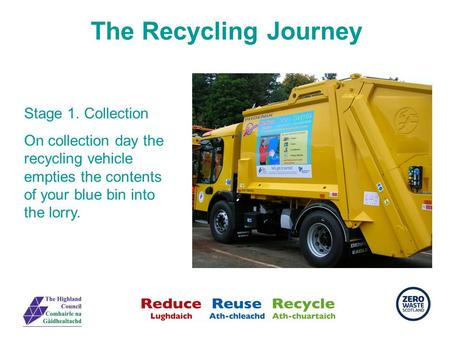 The Recycling Journey Stage 1. Collection On collection day the recycling vehicle empties the contents of your blue bin into the lorry.