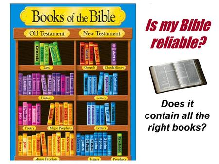 Is my Bible reliable? Does it contain all the right books?