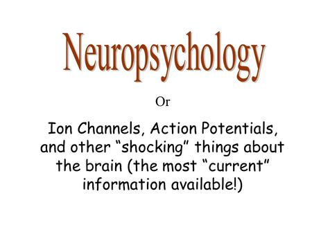 "Or Ion Channels, Action Potentials, and other ""shocking"" things about the brain (the most ""current"" information available!)"