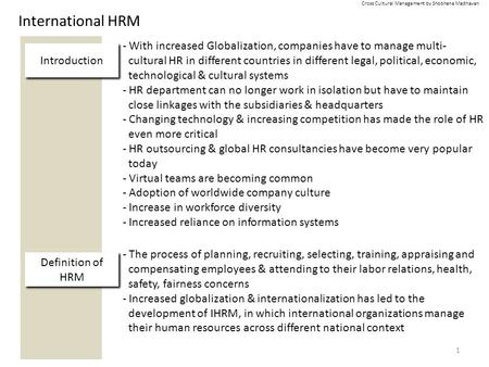 International HRM 1 Definition of HRM - The process of planning, recruiting, selecting, training, appraising <strong>and</strong> compensating employees & attending to.