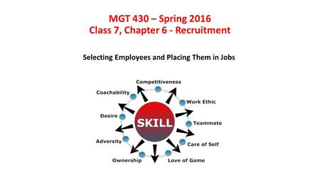 MGT 430 – Spring <strong>2016</strong> Class 7, Chapter 6 - <strong>Recruitment</strong> Selecting Employees and Placing Them in Jobs.