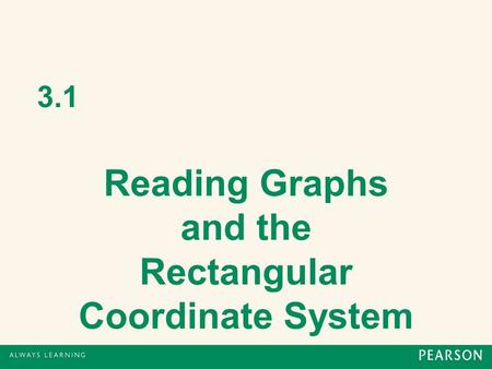 3.1 Reading Graphs and the Rectangular Coordinate System.