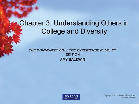 THE COMMUNITY COLLEGE EXPERIENCE PLUS, 2 ND EDITION AMY BALDWIN Chapter 3: Understanding Others in College and Diversity Copyright ©2010 by Pearson Education,