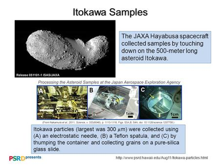 Itokawa SamplesItokawa Samples The JAXA Hayabusa spacecraft collected samples by touching down.