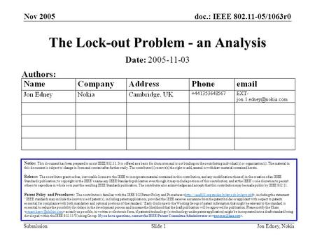 Doc.: IEEE 802.11-05/1063r0 Submission Nov 2005 Jon Edney, NokiaSlide 1 The Lock-out Problem - an Analysis Notice: This document has been prepared to assist.