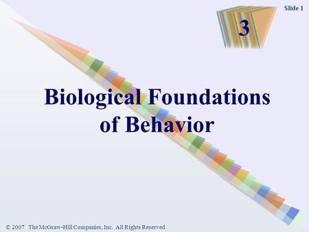 © 2007 The McGraw-Hill Companies, Inc. All Rights Reserved Slide 1 Biological Foundations of Behavior 3.