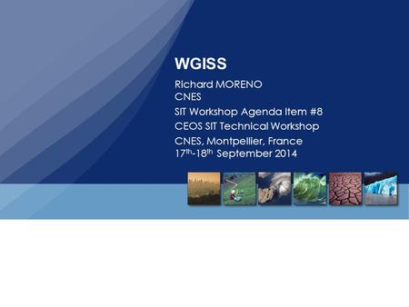 WGISS Richard MORENO CNES SIT Workshop Agenda Item #8 CEOS SIT Technical Workshop CNES, Montpellier, France 17 th -18 th September 2014.