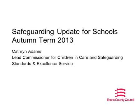 Safeguarding Update for Schools Autumn Term 2013 Cathryn Adams Lead Commissioner for Children in Care and Safeguarding Standards & Excellence Service.