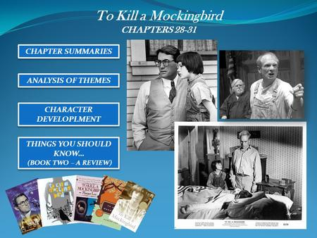 To Kill a Mockingbird CHAPTERS 28-31 CHAPTER SUMMARIES ANALYSIS OF THEMES CHARACTER DEVELOPLMENT THINGS YOU SHOULD KNOW… (BOOK TWO – A REVIEW) THINGS YOU.