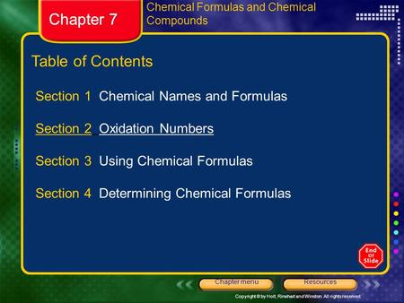 Chapter 7 Chapter 7 Table of Contents