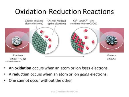 © 2012 Pearson Education, Inc. Oxidation-Reduction Reactions An oxidation occurs when an atom or ion loses electrons. A reduction occurs when an atom or.
