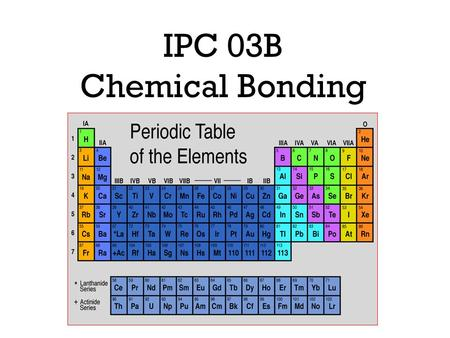 IPC 03B Chemical Bonding. Number of Valence Electrons Valence Electrons: Are electrons in the _________________________________________ The __________gases.