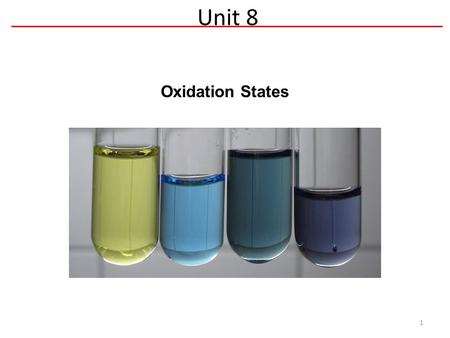 Oxidation States Unit 8 1. Oxidation States 2 Goal: Identify if a reaction is a redox reaction Oxidation State: The charge that an atom appears to have.