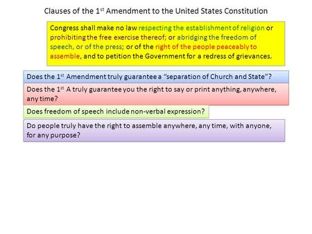 Clauses of the 1 st Amendment to the United States Constitution Congress shall make no law respecting the establishment of religion or prohibiting the.