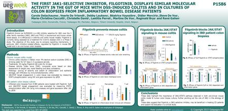 P1586 THE FIRST JAK1-SELECTIVE INHIBITOR, FILGOTINIB, DISPLAYS SIMILAR MOLECULAR ACTIVITY IN THE GUT OF MICE WITH DSS-INDUCED COLITIS AND IN CULTURES OF.