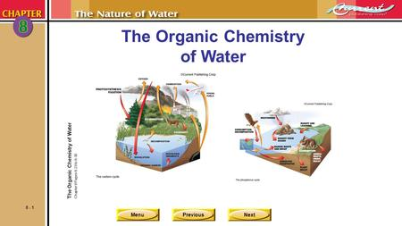 MenuPreviousNext 8 - 1 The Organic Chemistry of Water Chapter 8 Pages 8-23 to 8-30.