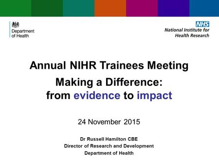 Annual NIHR Trainees Meeting Making a Difference: from evidence to impact 24 November 2015 Dr Russell Hamilton CBE Director of Research and Development.
