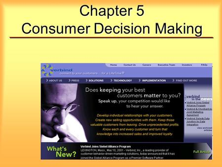 Chapter 5 Consumer Decision Making