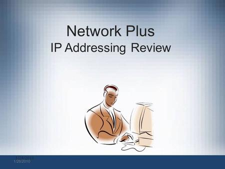 1/28/2010 Network Plus IP Addressing Review. IP Address Classes.