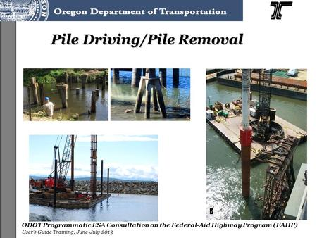 ODOT Programmatic ESA Consultation on the Federal-Aid Highway Program (FAHP) User's Guide Training, June-July 2013 Pile Driving/Pile Removal.