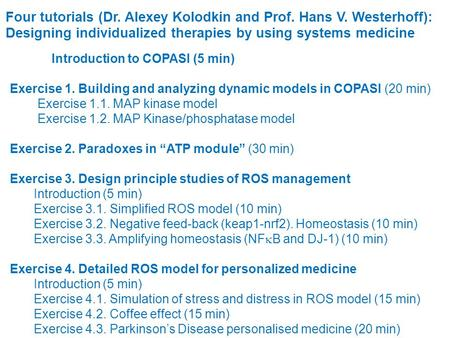 Introduction to COPASI (5 min) Exercise 1. Building and analyzing dynamic models in COPASI (20 min) Exercise 1.1. MAP kinase model Exercise 1.2. MAP Kinase/phosphatase.